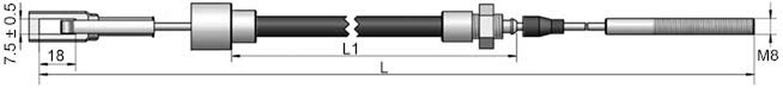 Bromswire passar till GSM/GKN fyrkantsögla, hylsa 20mm