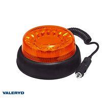 LED Varningslampa gul. Kabel 3m med koppling för cigarettuttag. Magnetfäste