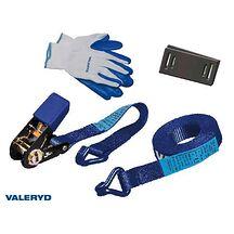Spännbandset 25mm med krok, 0,3+4,7m, inkl. handskar och 2 kantskydd