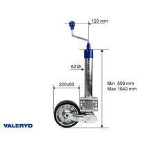 Automatstödhjul Ø60mm rund, stålfälg, Fullgummihjul 200x60mm Belastning 500kg. F